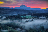Mood and Sunrise Fire at Mount Hood, Sandy, Oregon, Portland Photographic Print by Vincent James