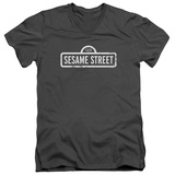 Sesame Street- Distressed Logo V-Neck T-Shirt