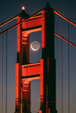 Coffee and Crescent, Moon Alignment, Golden Gate Bridge, San Francisco Photographic Print by Vincent James
