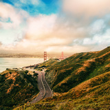 Dreamy Road Into San Francisco, Clouds Over City at Golden Gate Bridge Photographic Print by Vincent James