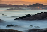 Sunrise Fog Through the Hills of Sonoma Valley, Petaluma California Photographic Print by Vincent James