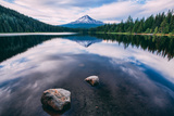 Mount Hood and Clouds in Reflection, Trillium Lake Wilderness Oregon Photographic Print by Vincent James