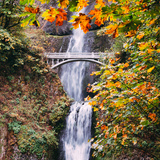 Autumn at Multnomah Falls, Square, Hood River, Columbia River Gorge, Oregon Photographic Print by Vincent James