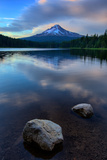 Lake Rocks and Clouds, Trillium Lake Reflection, Summer Mount Hood Oregon Photographic Print by Vincent James