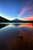 Sunset Reflection and Clouds at Trillium Lake, Mount Hood, Oregon Photographic Print by Vincent James