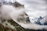 Blustery El Capitan and Half Dome, Fog at Yosemite National Park Photographic Print by Vincent James