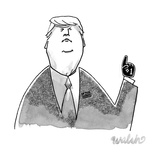 Donald Trump wearing a tiny 1 foam finger. - New Yorker Cartoon Premium Giclee Print by Liam Walsh