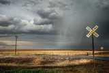 Rural Landscape with Dramatic Sky over Railway Crossing in America Wall Mural