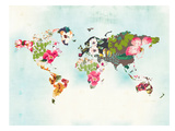 World Map 1 Plakater af Peach & Gold