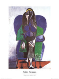 Sitting Woman with Green Scarf Samletrykk av Pablo Picasso
