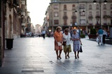 Three Ladies Walking in Spanish Street Photographic Print by Felipe Rodriguez