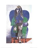 Sitting Woman with Green Scarf Sammlerdrucke von Pablo Picasso