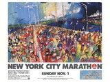 New York City Marathon 1987 Art by LeRoy Neiman