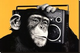 The Chimp Boombox Art Print Poster Stretched Canvas Print