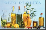 Olio di Oliva (Olive Oil Bottles) Art Poster Print Stretched Canvas Print