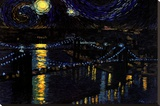 Starry Night over the Brooklyn Bridge Stretched Canvas Print by Nathan Mellot