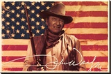 John Wayne- Flag Stretched Canvas Print