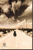 Route 66 Motorcycle Art Print Poster Lærredstryk på blindramme