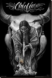 David Gonzales Art - Chiefin Stretched Canvas Print