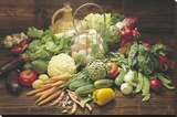 Verdura Fresca (Fresh Vegetables Still Life) Art Print Poster Stretched Canvas Print