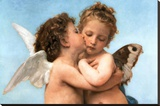 William Bouguereau (Le Premier Baiser, The First Kiss) Art Poster Print - Şasili Gerilmiş Tuvale Reprodüksiyon