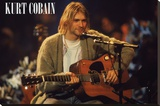 Kurt Cobain Unplugged Landscape Stretched Canvas Print