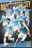 Manchester City- 15/16 Players Stretched Canvas Print
