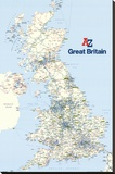 A - Z Great Britain Map Stretched Canvas Print