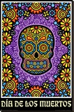 Dia de los Muertos Day of the Dead Art Poster Print Stretched Canvas Print
