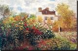 Claude Monet The Artist's Garden Art Print Poster Stretched Canvas Print by Claude Monet