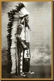 Chief White Cloud (Native American Wisdom) Art Poster Print Lærredstryk på blindramme
