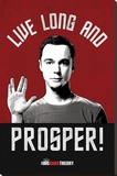 Sheldon Live Long and Prosper Big Bang Theory Television Poster Stretched Canvas Print