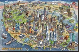 Maria Rabinky New York City Map Stretched Canvas Print by Maria Rabinky