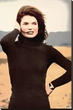 Jackie O Beach Photo Poster Stretched Canvas Print