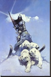 Silver Warrior Stretched Canvas Print by Frank Frazetta