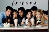 Friends-Milkshakes Opspændt lærredstryk