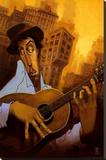 El Guitarrista Stretched Canvas Print by Justin Bua
