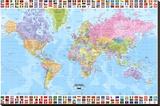 Verdenskort - Politisk Lærredstryk på blindramme