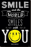 Smiley- World Smiles With You Stretched Canvas Print
