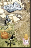 Alice in Wonderland Cheshire Cat Art Print Poster Stretched Canvas Print