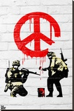 Banksy- Peace Soldiers Stretched Canvas Print by Banksy