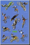Freestyle Motocross (Riders in Air, FMX) Sports Poster Print Reproduction sur toile tendue