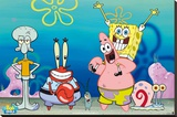 Sponge Bob - Group Stretched Canvas Print