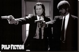 Pulp Fiction –  Duo with Guns (Jackson and Travolta) B & W Movie Poster Stretched Canvas Print