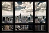 New York, fenêtre donnant sur gratte-ciels Reproduction sur toile tendue