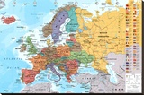 European Map Educational Poster Stretched Canvas Print