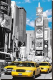 New York City (Taxis in Times Square) Art Poster Print Stretched Canvas Print