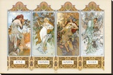 The Four Seasons Stretched Canvas Print by Alphonse Mucha