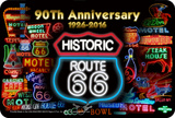 Route 66 90th Neon Tin Sign