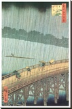 Sudden Shower Over Ohashi Bridge and Atake Stretched Canvas Print by Ando Hiroshige